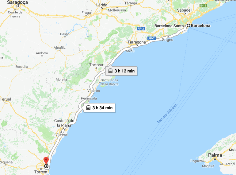 Viaje en tren de Valencia a Barcelona