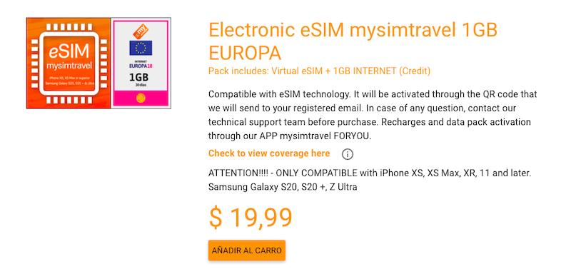 Electronic eSIM mysimtravel 1GB EUROPA